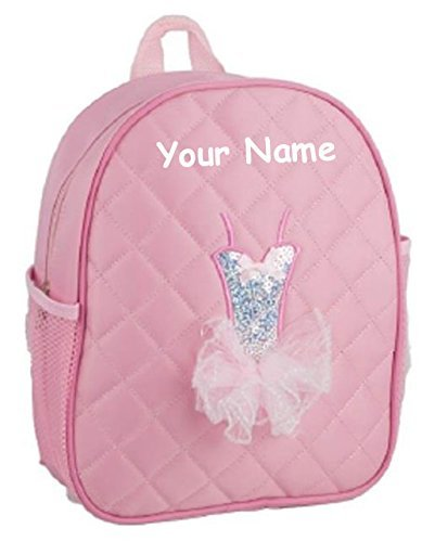 Personalized Quilted Pink Tutu Themed Backpack Dance Bag - 12 Inches