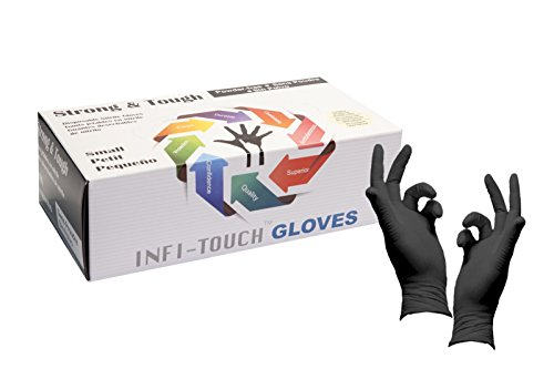 Heavy Duty Nitrile Gloves, Infi-Touch Strong & Tough, High Chemical Resistant, Disposable Gloves, Powder-Free, Non Sterile (1,Small)