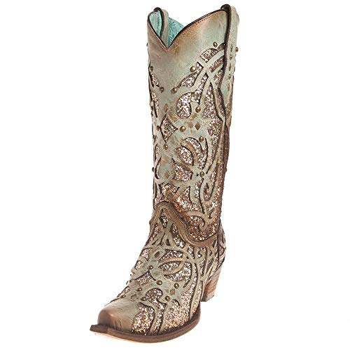 Corral Mint Glitter Inlay and Studs Snip Toe Boots (9)