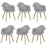 eSituro SDC0015-6 6er Set Esszimmerstühle Küchenstuhl 6 x Wohnzimmerstuhl, aus Kunststoff und Holz, mit Rückenlehne und Armlehne, Grau