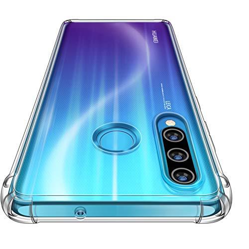 "CANSHN Funda Huawei P30 Lite/P30 Lite New Edition,Carcasa Protectora Antigolpes Transparente con Parachoques de TPU Suave Flexible [Slim Delgada] Compatible para Huawei P30 Lite 6,15"" - Transparente"
