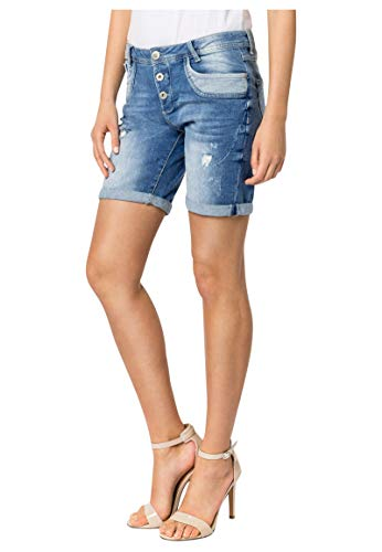 Sublevel Damen Jeans Bermuda Shorts mit Destroyed Parts Blue M