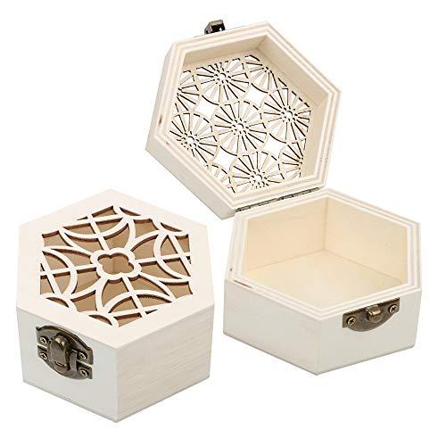 VINFUTUR 2 Stücke Sechseckige Holzbox mit Deckel Mini Holzkiste Aufbewahrungsbox Schatzkisten Schmuckkästchen Klein Holztruhen