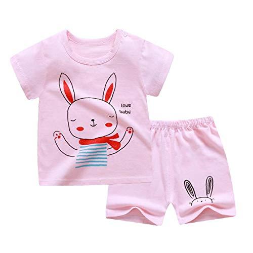 fedsjuihyg Los Niños De Manga Corta Pijamas Set Sistema De La Ropa De La Camiseta del Bebé Pantalones Cortos para Niños Trajes Rosa 120cm 2pcs Ropa Cómoda Y Linda