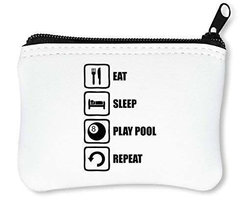 Eat Sleep Play Pool Repeat Funny Black Graphic Reißverschluss-Geldbörse Brieftasche Geldbörse