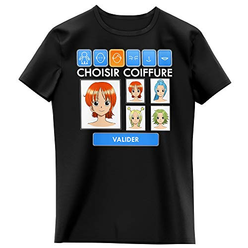 T-Shirt Enfant Fille Noir Parodie One Piece - Nami et Vivi - Générateur de Personnages : (T-Shirt Enfant de qualité Premium de Taille 3-4 Ans - imprimé en France)