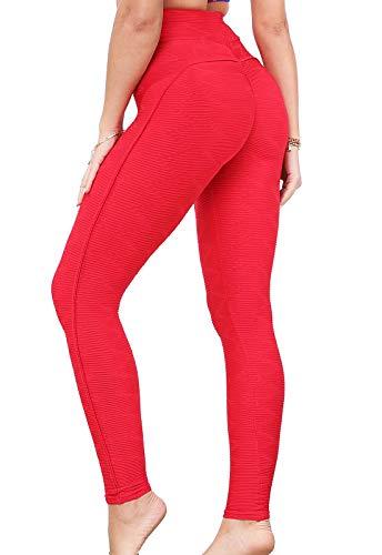 FITTOO Leggings Mallas Mujer Pantalones Deportivos Yoga Alta Cintura Elásticos y Transpirables#6 Rojo Grande