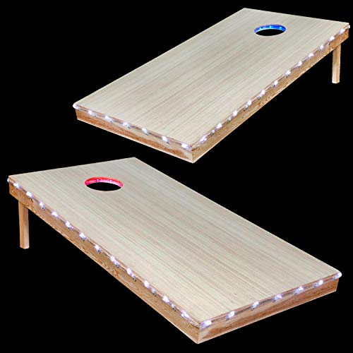 AweFun Cornhole Lights - Corn Hole LED Lights for Hole And Board - Waterproof, Bright, Easy To Install LED Lighting Kit For Corn Hole Game - Ideal For Family Backyard Play and Night Play (Red vs Blue)