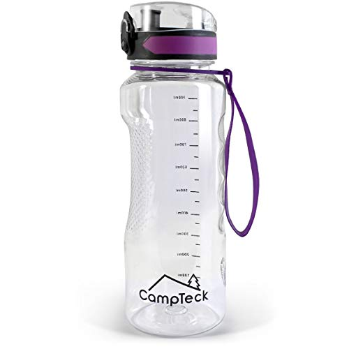CampTeck U6971 - BPA Free Botella Agua de 1 litro (1000 ml 1l Water Bottle Deportiva Tritan - Tapa antirreflejo con Cierre a Prueba de Fugas - con Correa de Transporte - Púrpura - 1000 ml (1 litro)