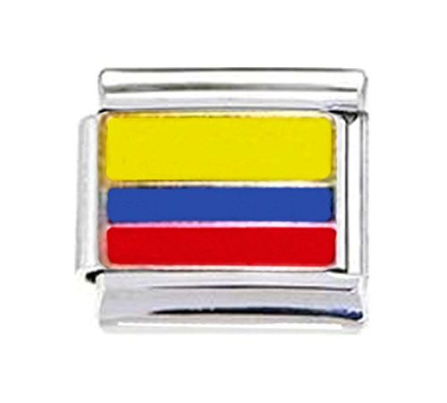 Stylysh Charms Bandera colombiana esmaltada italiana 9mm Link PE007 se adapta a tradicional clásico