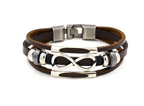 HONGCI Punk Alloy Leather Bracelet Love Infinity Symbol With Stainless Steel Clasp Fit Men,Women(21cm) (BROWN)