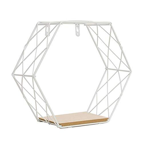 Carolilly - Estantería de pared industrial de madera y metal flotante vintage, estantería hexagonal de pared, dormitorio, salón, cocina, oficina, blanco, Grille Grande
