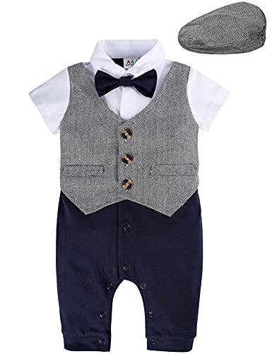 mintgreen Baby Anzug Junge Hochzeit, Neugeborenes Overall Bodysuit Strampler Gentleman Smoking Kurzarm Overall mit Flache Kappe, Dunkelgrau, 9-12 Monate