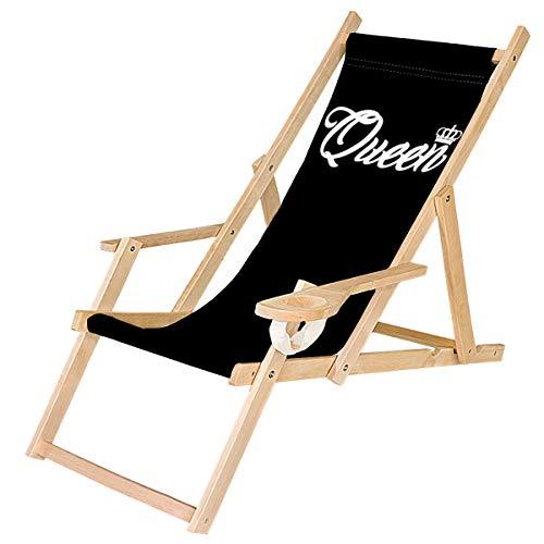 Holz-Liegestuhl Klappbar Klappliegestuhl mit Armlehne und Getränkehalter Strandstuhl Motiv Schwarz Queen [119]