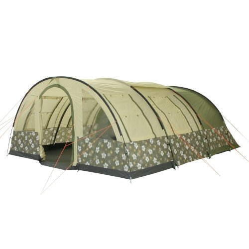 10T Outdoor Equipment, Tenda a Tunnel Tunnel- Zelt Flowerton 6, Beige/Grün, 6 Persone