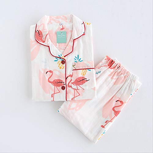 MDHDSY Pyjamas Set Nachtwäsche Frauen Baumwolle Langarm Casual Anzug Soft Home Wear L Flamingo