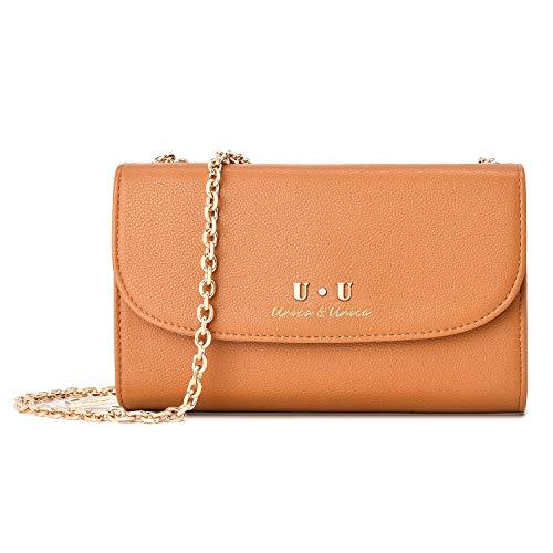 U+U Kleine Clutch Messenger Tasche für Handy, Umhängetasche aus Leder, Damen, Geldbörse, Handtaschen mit Kette für iPhone Samsung Huawei, Braun - braun - Größe: S
