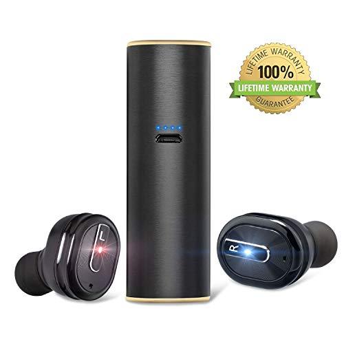 Cuffie Bluetooth Senza Fili, TWS Bluetooth 5.0 Auricolari con Microfono e Custodia di Ricarica, Hi-Fi Accoppiamento-Rapido Auricolari Bluetooth 15 Ore di Riproduzione per iPhone e Android(Nero)