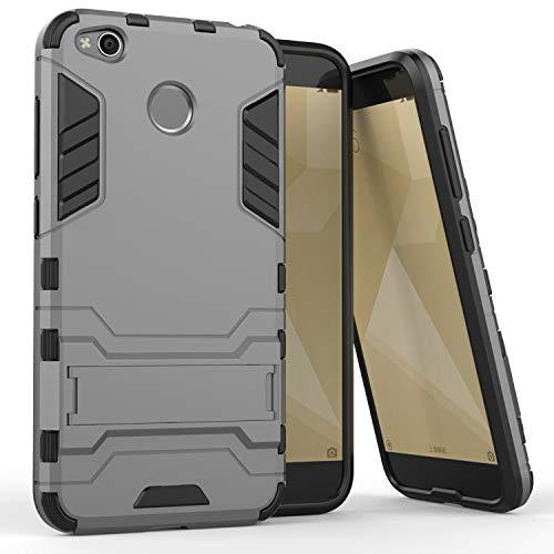 COOVY® Funda para Xiaomi Redmi 4X de plástico y Silicona TPU, extrafuerte, con protección contra Golpes, Funda con función Atril | Color Gris