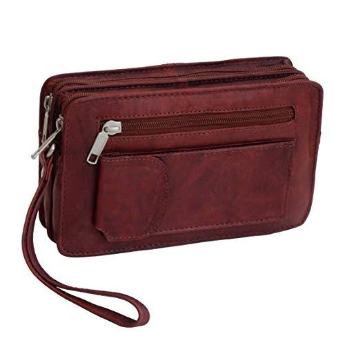 Bag Street Leder - Exquisite Leder Herren Handgelenktasche, Herrentasche, Handtasche, Handgepäck-Tasche (Braun - Doppelkammer) - präsentiert von ZMOKA®