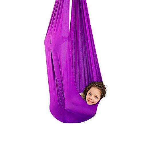 LSRRYD Columpio de Terapia de Interior para niños Silla de Hamaca sensorial con Necesidades Especiales Autismo TDAH SPD Aspergers al Aire Libre (Color : Dark Purple, Size : 100 * 280cm)