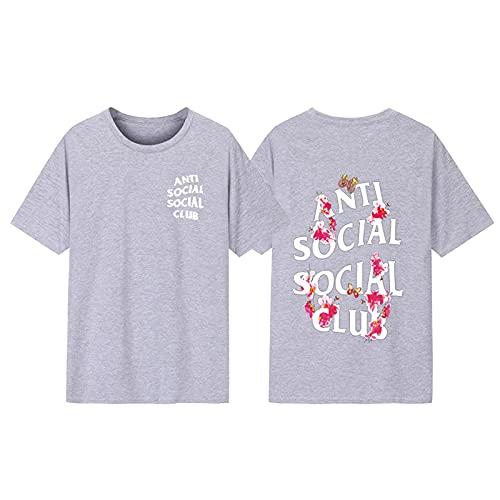 Kanye Anti Social Social Club Hip Hop Fan Camiseta Unisex Cuello Redondo Camiseta de Manga Corta Camiseta ASSC,Light Gray,3XL