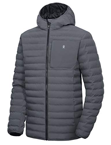 Little Donkey Andy Men's Warm Waterproof Puffer Jacket Hooded Windproof Winter Coat with Recycled Insulation Grey XL