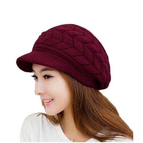 LEORX Bonnet de ski casquette gavroche hiver en tricot pour femme / fille Medio rouge