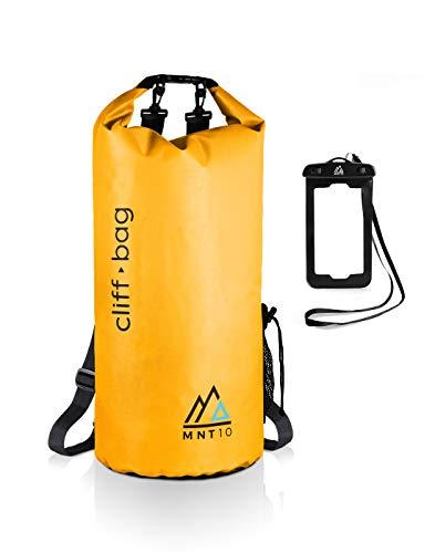 MNT10 Bolsa seca 'Cliff-Bag' en 20 L, 30 L, 40 L, mochila Drybag para SUP, canoa, kayak, impermeable, con correas para los hombros, bolsa impermeable + funda impermeable (amarillo, 40 L)