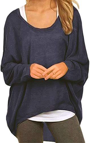 Meyison Damen Lose Asymmetrisch Sweatshirt Pullover Bluse Oberteile Oversized Tops T-Shirt Navy L