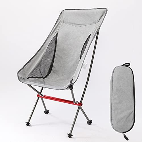 FCHMY Silla de Luna Plegable de aleación de Aluminio portátil al Aire Libre reclinable Que acampa Grande Silla de Playa de Aluminio Gray,All Aluminum