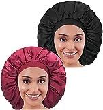 2PCS Large Satin Bonnet,Silk Bonnet With...