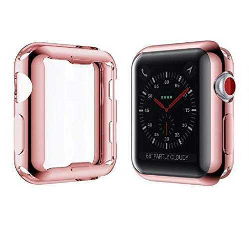 YoLin Apple Watch Series 3 Schutzhülle, iwatch Case Weiche Ultradünne TPU iwatch Displayschutz All-Around Hülle für Apple Watch Serie 3 42mm (1 Roségold + 1 Transparent)