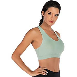 RUNNING GIRL Sports Bra for Women, Criss-Cross Back Padded Strappy Sports Bras Medium Support Yoga Bra with Removable Cups(WX2353.Green.L)