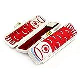 印鑑ケース PCすっゴイ! 赤色(10.5mm~12mm) 朱肉付き 認印用や銀行印用 鯉のぼり プラスチック枠