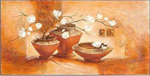 Rahmen-Kunst Keilrahmen-Bild - Claudia Ancilotti: Giulietta Leinwandbild Stillleben modern floral orange (65x130)