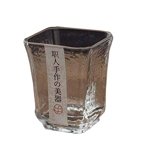 PIVFEDQX Exquisita Tentación Negra Una Taza De Sake De Té Japonés Taza De Vidrio Corta Transparente Copa De Sake De Licor De Vino D