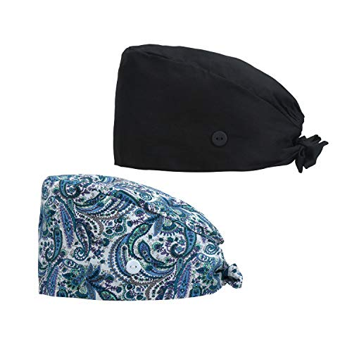 QBA Adjustable Working Cap with Button, 2 PCS, Cotton Working Hat Sweatband, Elastic Bandage Tie Back Hats for Women & Men, One Size, BLK + BL AM