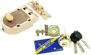 Mul-T-Lock Economic Junior Jimmy proof Rim Cylinder Deadlock 3 Keys With Card Included (Bright Brass)