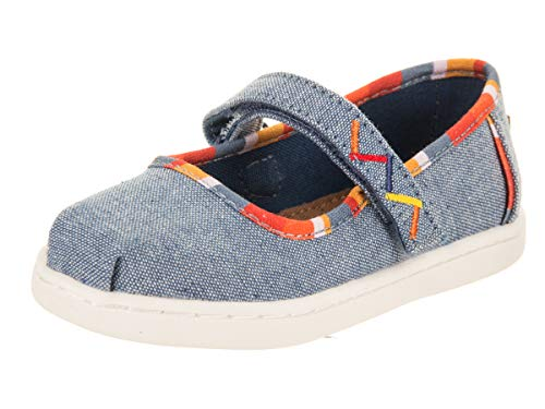 TOMS Mary Jane Blue Chambray Stripes Tiny Flats Shoes, 4 M US Toddler