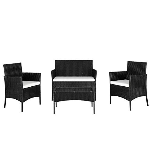 Outdoor Patio Garden Rattan Sofa Couch Sofa Set-2 Arm Chairs&1 Love Seat&1 Tempered Glass Coffee Table;for Small Apartment Living Room Bedroom;Black