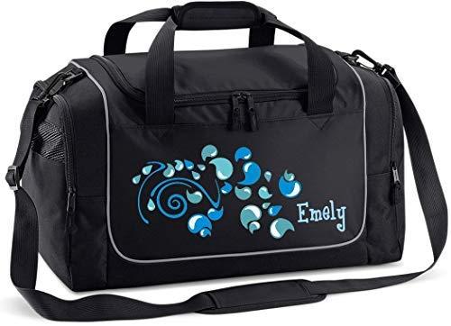 Mein Zwergenland Sporttasche Kinder Praktisch kompakt & robust Sporttasche mit Namen Tropfen als Aufdruck Farbe Schwarz 38 L Stauraum die perfekte Sporttasche für Kinder