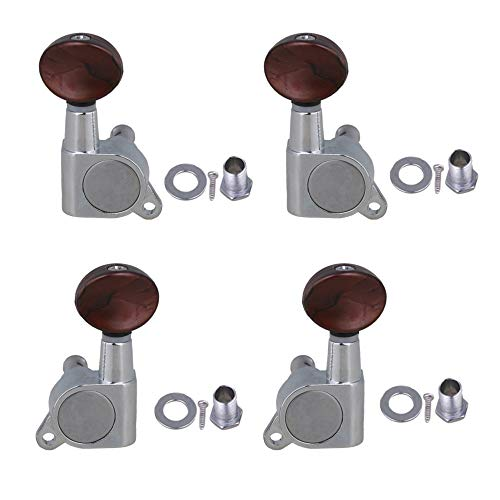 Yibuy 密閉式 シルバー 合金 レッドスモールラウンドハンドル チューニングペグ マシンヘッド ロックチューナー 2L 2R ギア比18:1 ウクレレギター用