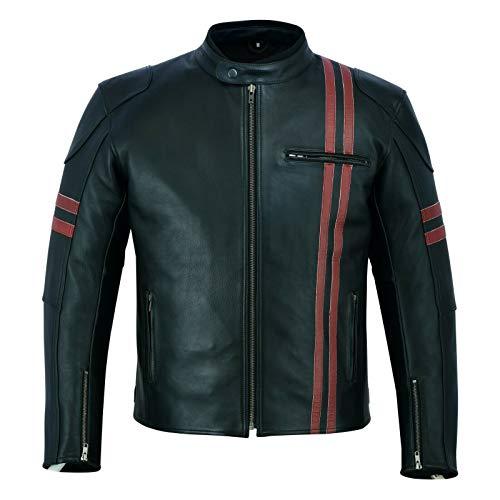 Veste de moto en cuir véritable pour homme | Cuir...