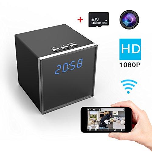 Cámara Espía Corprit Inalámbrica Oculta HD 1080p WiFi, Cámara de Seguridad y Reloj Alarma de Sobremesa en Forma de Cubo Negro, para el Hogar y la Vigilancia - Incluye Tarjeta Micro SD de 16GB