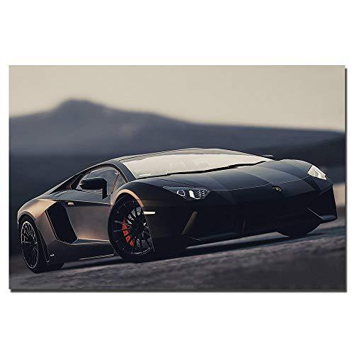 VVSUN Black Car Lambo Aventador Supercar Poster Arte de la Pared Imagen del vehículo Impresiones en Lienzo Pinturas para la decoración de la Sala de Estar 60X90cm 24x36inch Sin Marco