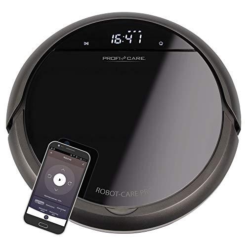 ProfiCare PC-BSR 3043, selbstaufladender Staubsaugroboter mit WiFi-App und Fernbedienung, Starke Saugleistung, HEPA Filter, ca. 120 min. Akkulaufzeit, Voice Control via Alexa & Google, schwarz