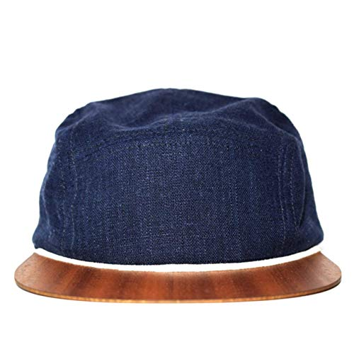 Cap für Damen und Herren Made in Germany - Leinen Cap blau mit edlem Holzschild - Sommerkappe