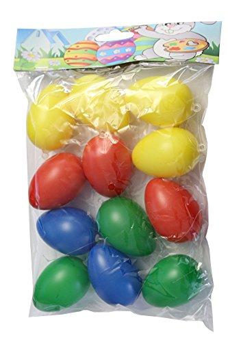 Idena 734542 - Kunststoffeier von Ostern, 12er Set, Mehrfarbig