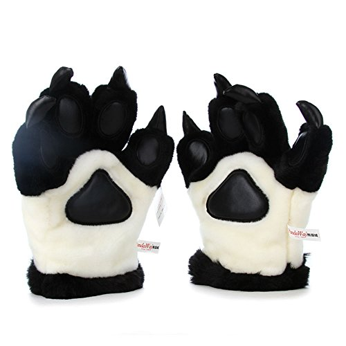 1 Pairs Cute Simulation Panda paw Plush Toy Tiger paw Plush Gloves